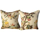 Image of Brunschwig & Fils Le Lac in Cream Pillows - a Pair For Sale