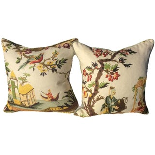 Brunschwig & Fils Le Lac in Cream Pillows - a Pair For Sale