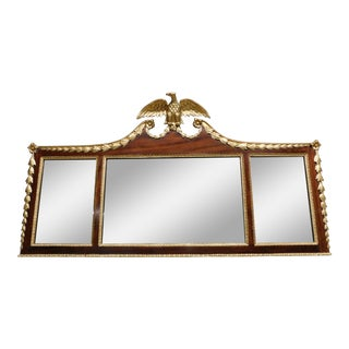 """Antique Mahogany Federal Style 3 Part Eagle Mounted Mirror 60""""w X 32""""h For Sale"""