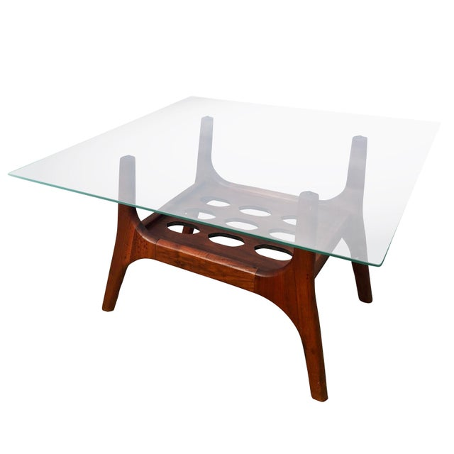 Mid-Century Modern 1960s Scandinavian Modern Teak Glass Top Accent Table For Sale - Image 3 of 6