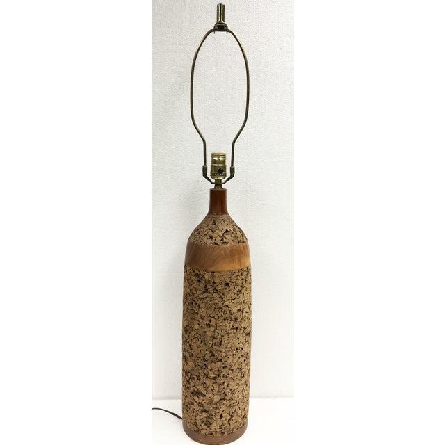 Vintage Cork & Wood Lamp - Image 2 of 4