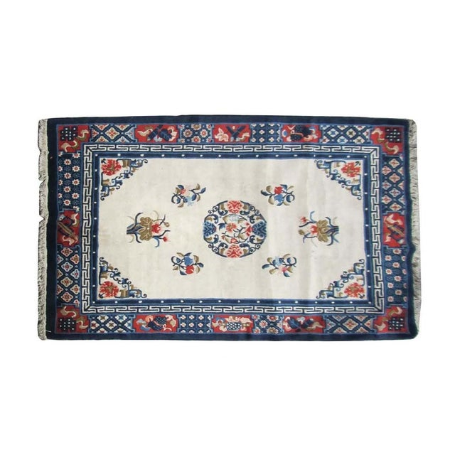 Chinese Handmade Peony Floral Rug For Sale