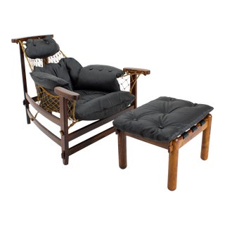1950s Vintage Jean Gillon for Wood Art Jangada Lounge Chair and Ottoman For Sale