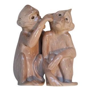 B & G Fine Porcelain Monkeys Grooming Figurine For Sale
