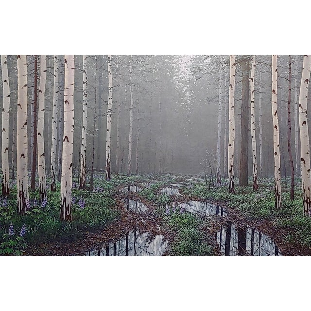 Realism Jack Braman -Inside a Misty Forest of Aspens -Realism-Oil Painting For Sale - Image 3 of 12