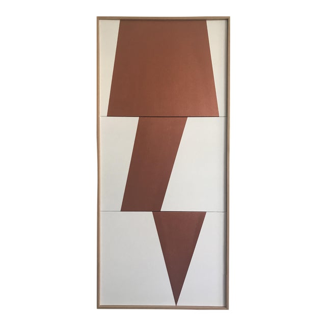 "Original Acrylic Painting ""Copper Jagged Triptych JET0491"" For Sale"