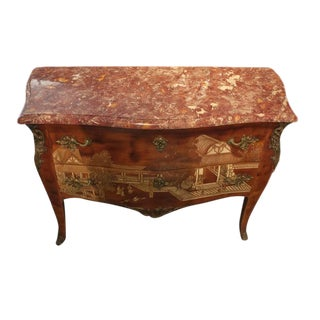 19th Century Louis XV Style Brown Lacquer Chinoiserie Bronze-Mounted Commode For Sale