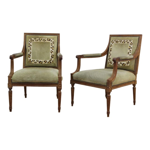 Louis XVI Style Open Armchairs - A Pair For Sale