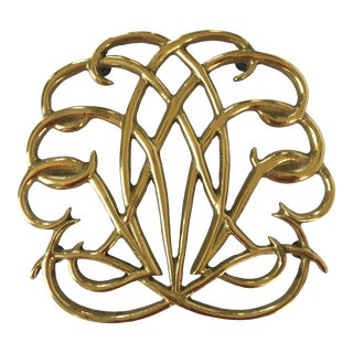 Virginia Metalcrafters Solid Brass Four Footed Trivet For Sale