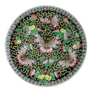 "Vintage Chinoiserie 14"" Round Centerpiece Ceramic Platter Butterflies For Sale"