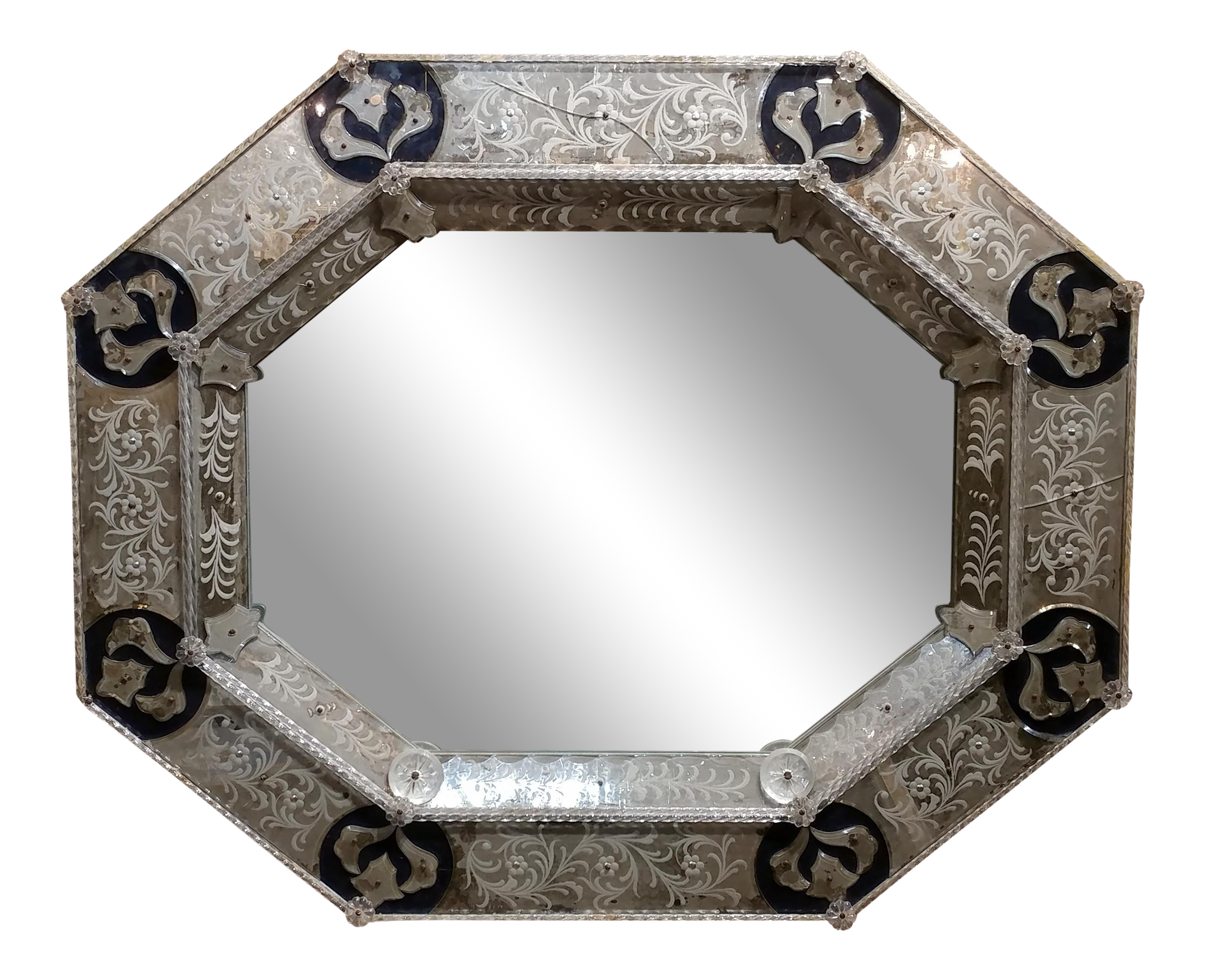 19th Century Antique Venetian Octagonal Etched Wall Mirror