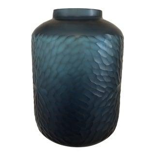 Large Luminous Slate Blue Sculpted Murano Vase For Sale