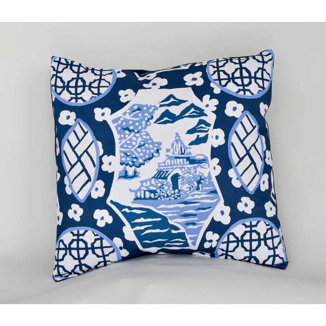 Chic pillow adds a splash to a blue and white ensemble. Envelope closure. Comes with insert.