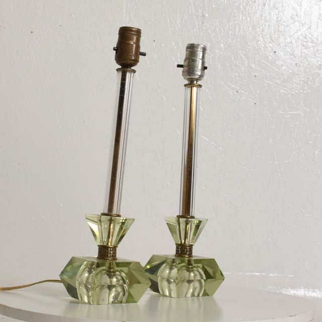 Green Hollywood Regency Era Crystal Table Lamps With Light Green Color Set of 2 For Sale - Image 8 of 11