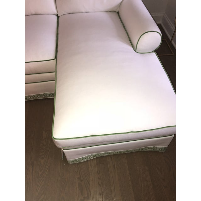 White Custom White Cripton Sectional With Green Piping and Trim For Sale - Image 8 of 9