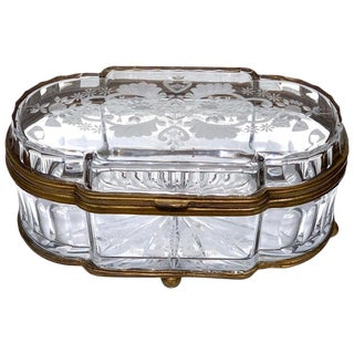 Large Oval Cut Glass Bronze Mounted Table Box, in the Style of Baccarat For Sale