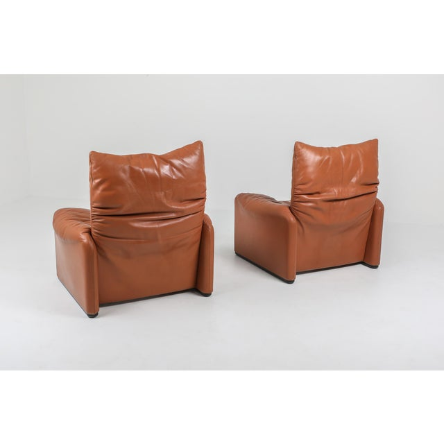Metal 1970s Maralunga Cognac Leather Club Chairs by Vico Magistretti for Cassina - a Pair For Sale - Image 7 of 11