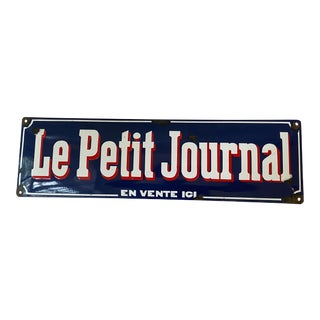 """Antique French """"Le Petit Journal"""" Enamel on Metal Advertising Sign For Sale"""