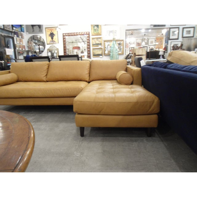 Tan Leather Sectional Sofa, Right Chaise, Tufted Seating For Sale In Los Angeles - Image 6 of 8