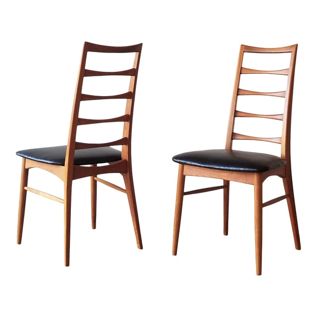 1960s Niels Kofoed for Koefoeds Hornslet Newly Upholstered Teak Ladder Back Dining Chairs - a Pair For Sale
