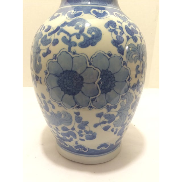 Chinosorie Vase with Delft Blue and Floral Motifs - Image 4 of 6