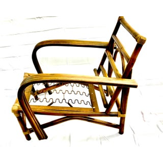 Vintage Paul Frankl Style Three Strand Rattan Lounge Chair/ Armchair, Curved Arms Preview