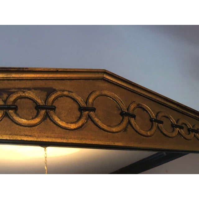 1950s Mid Century Deco Hollywood Regency Gold and Black Wood Wall Mirror For Sale - Image 5 of 7