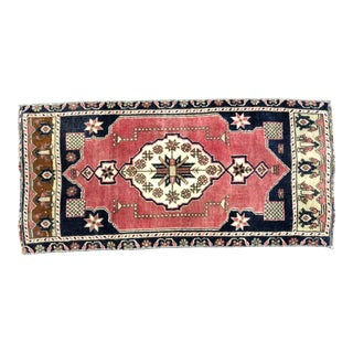 Vintage Turkish Anatolian Decorative Red and Blue Small Rug For Sale