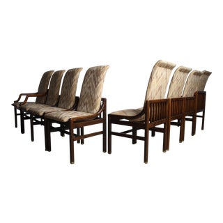 Henredon Architectural Walnut Dining Chairs- Set of 8