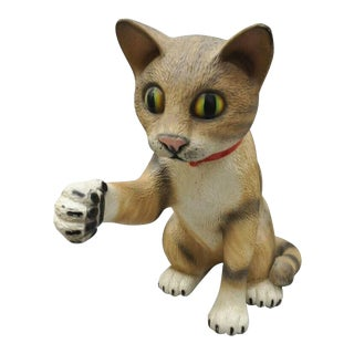 """Large Oversized Vintage 64"""" Fiberglass Cat Retail Advertising Store Display For Sale"""