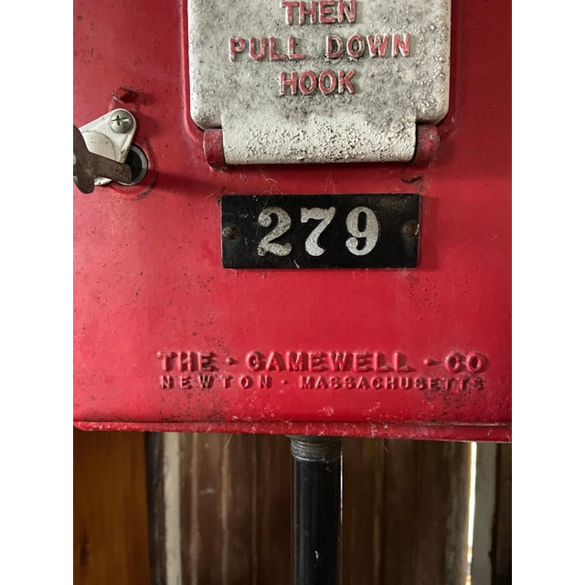 Red Mid-1900s Red Gamewell Cast Iron Fire Alarm Master Box W/ Western Electric Phone For Sale - Image 8 of 13