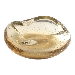 1950s Hollywood Regency Champagne Controlled Bubbles Murano Glass Dish For Sale
