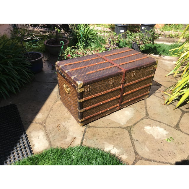 Wood 1930s French Louis Vuitton Monogram Steamer Trunk For Sale - Image 7 of 13