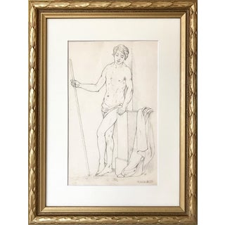 19th Century Neoclassical Drawing of a Greco Roman Male Nude For Sale