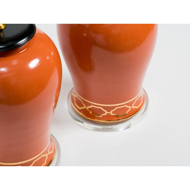 Early 21st Century Pair of Orange Overscale Ceramic Ginger Jar Table Lamps For Sale - Image 5 of 7