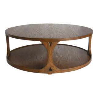 Custom Round Oak Coffee Table For Sale