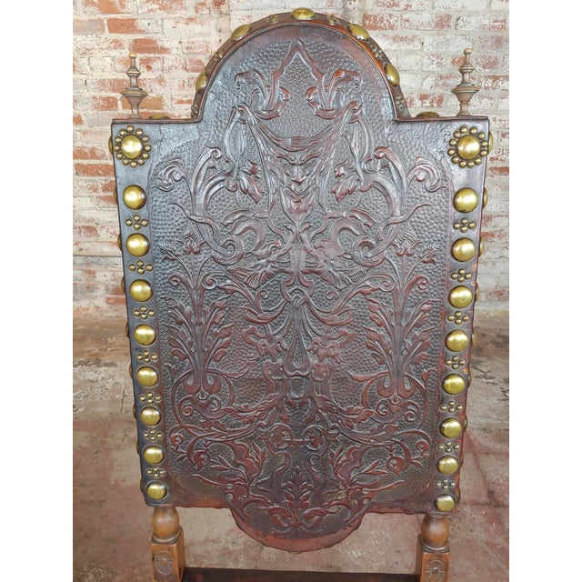 Brown 19th Century Portuguese Side Chairs Embossed Leather -A Pair For Sale - Image 8 of 10