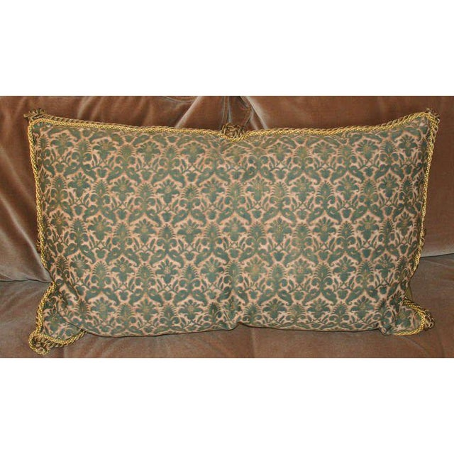 Lovely vintage pillow with antique Fortuny fabric face with gold and bronze metallic trim. Rare colors and lovely patina....