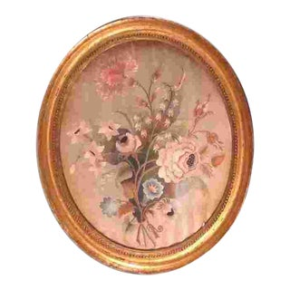 18th Cent. American or English Embroidery Under Glass For Sale