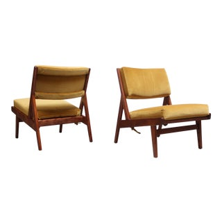 Jens Risom Walnut and Velvet Low Lounge Chairs Model U-431- A Pair For Sale