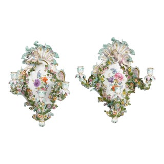 Pair of Meissen Wall Sconces For Sale