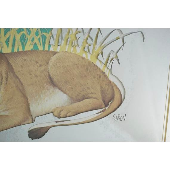 Glass Vintage Glassiques by Murray Skoff Enterprises Mother & Baby Lion Mirror For Sale - Image 7 of 10