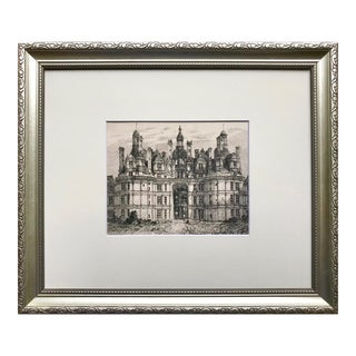 19th C French Etching of Chateau Chambord For Sale