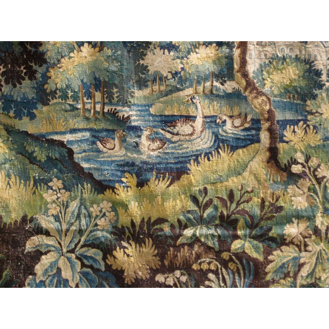 Realism 18th Century Flemish Verdure Tapestry Wall Hanging For Sale - Image 3 of 13