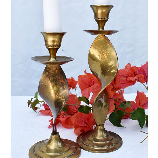Pair of Antique Twisted Brass Candle Holders For Sale - Image 4 of 5