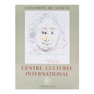 "Pablo Picasso Centre Culturel International 25"" X 19"" Lithograph 1967 Cubism White Drawing For Sale"