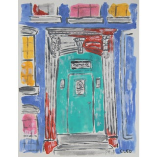 Abstract Victorian Door Painting by Cleo For Sale