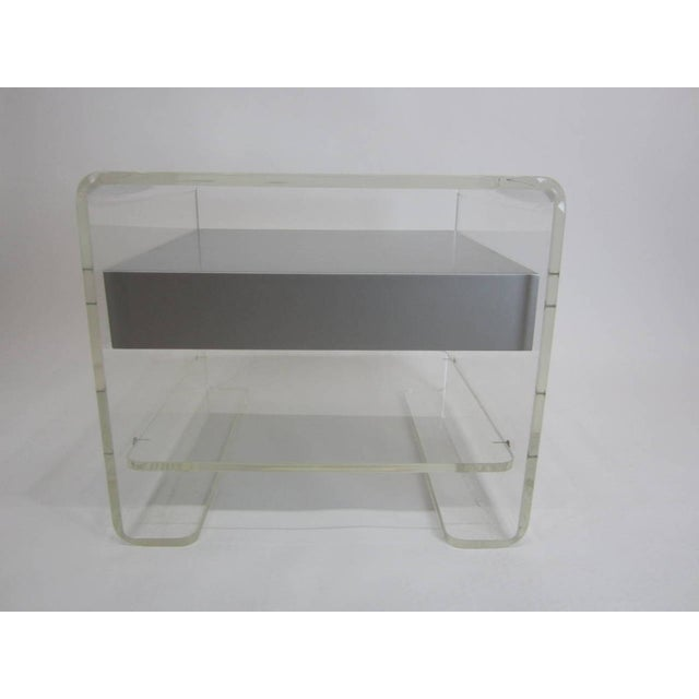 Lucite Side Table with Silver Metallic Drawer - Image 4 of 6