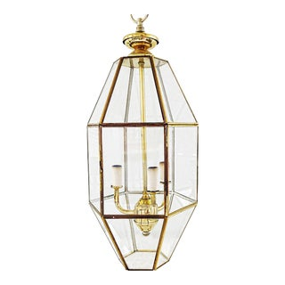 Vintage Glass and Brass Hexagonal Lantern Chandelier For Sale