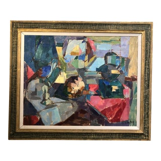 Mid Century Abstract Oil on Canvas Painting For Sale